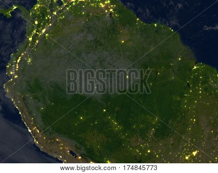 Amazon Rainforest At Night On Planet Earth