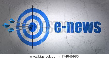 Success news concept: arrows hitting the center of target, Blue E-news on wall background, 3D rendering