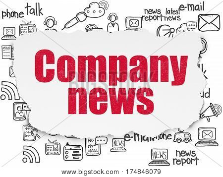 News concept: Painted red text Company News on Torn Paper background with  Hand Drawn News Icons