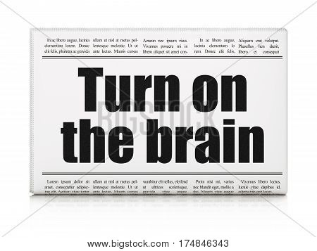 Learning concept: newspaper headline Turn On The Brain on White background, 3D rendering