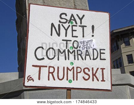Asheville North Carolina USA - February 25 2017: Close up of a sign with a Russian hammer and sickle symbol saying