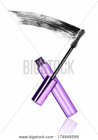 Mascara brush with black strokes in dynamics isolated on white background