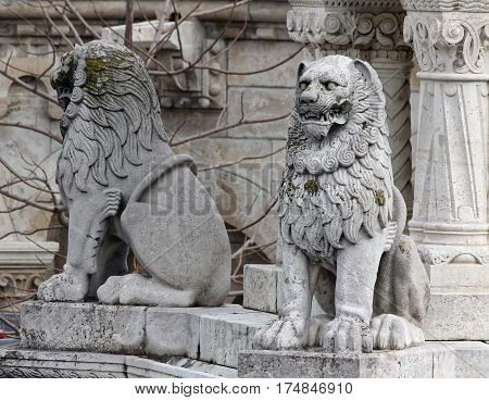 Gothic building decorated statue of a lion and historical shape ..