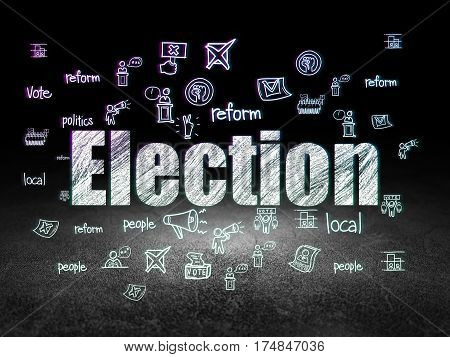 Politics concept: Glowing text Election,  Hand Drawn Politics Icons in grunge dark room with Dirty Floor, black background