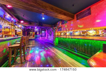 MOSCOW - AUGUST 2014: Interior of the Mexican nightclub restaurant