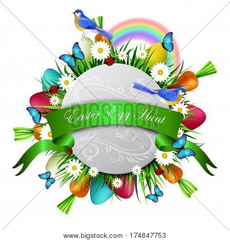 Happy Easter card with eggs camomiles butterflyes ladybugs carrots and grass bluebirds vector