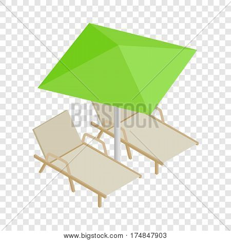 Deckchair and parasol isometric icon 3d on a transparent background vector illustration