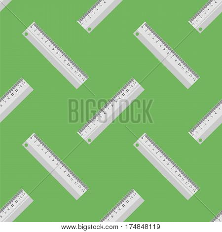 Metallic Ruler Seamless Pattern on Green Background