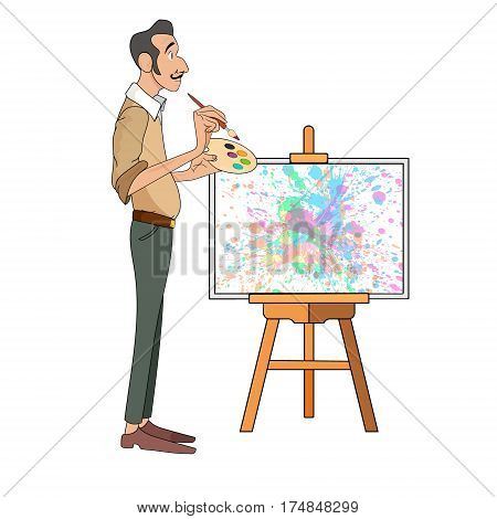 portrait of happy male painter artist and mustache smiling and painting with colorful palette standing near easel