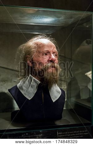 STOCKHOLM, SWEDEN - JUNE 28, 2016: This reconstruction faces of the sailors who died in the crash of the ship (The ship Vasa Museum).