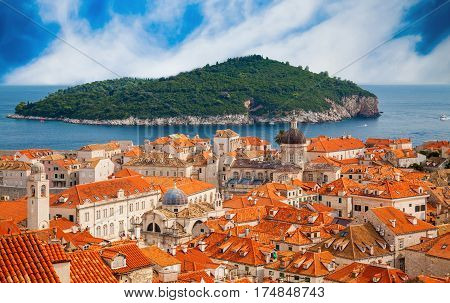aerial view of the Dubrovnik old town with island Lokrum in a distance Croatia