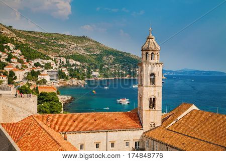 view of the Dominican Monastery in Dubrovnik from city walls Croatia