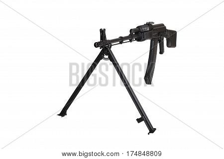 Weapon - A close up black Assault rifle on a bipod on a white background. It is isolated the worker of paths is present.