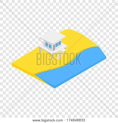 Beach with lifeguard tower isometric icon 3d on a transparent background vector illustration