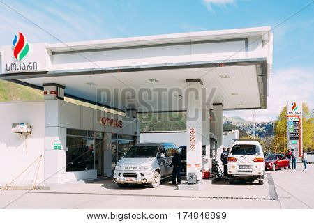 Kazbegi, Georgia - May 22, 2016: Mitsubishi Cars refuel at gas station of SOCAR. State Oil Company of Azerbaijan Republic is a wholly state-owned national oil company headquartered in Baku, Azerbaijan
