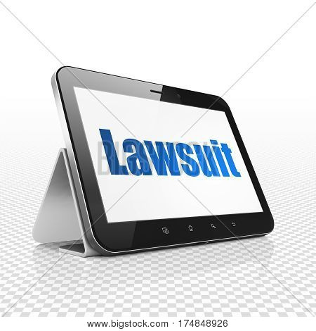 Law concept: Tablet Computer with  blue text Lawsuit on display,  Tag Cloud background, 3D rendering