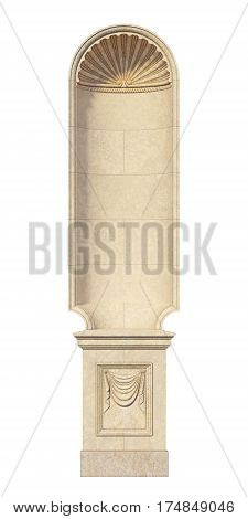 stone niche in the classical style on a white background. 3d rendering