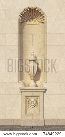 Niche in a classic style with a vase on a stone wall. 3d rendering