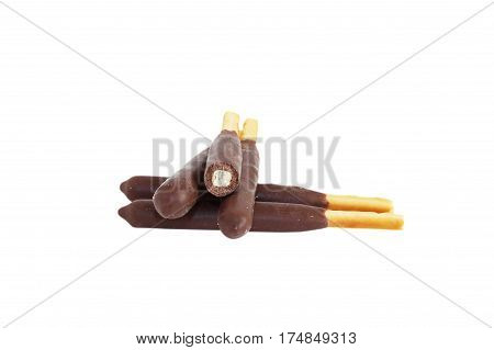 Chocolate Japanese snacks on a white background