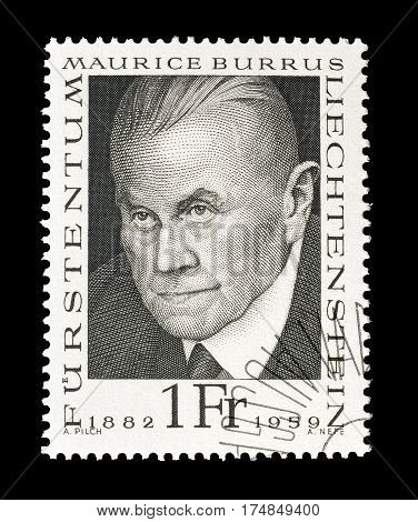 LIECHTENSTEIN - CIRCA 1968 : Cancelled postage stamp printed by Liechtenstein, that shows Maurice Burrus.