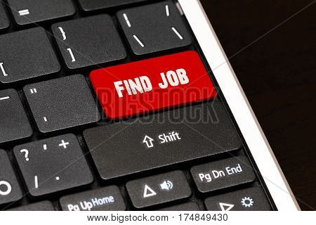 Find Job On Red Enter Button On Black Keyboard