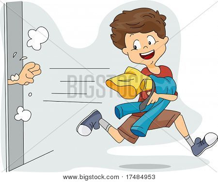 Illustration of a Kid Stealing Clothes poster