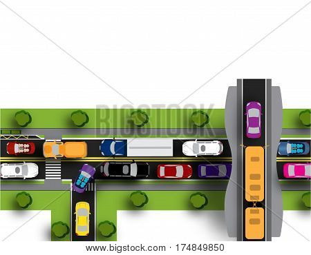 Transport hub with difficult movement. Various cars. Isolated on white background. Vector illustration