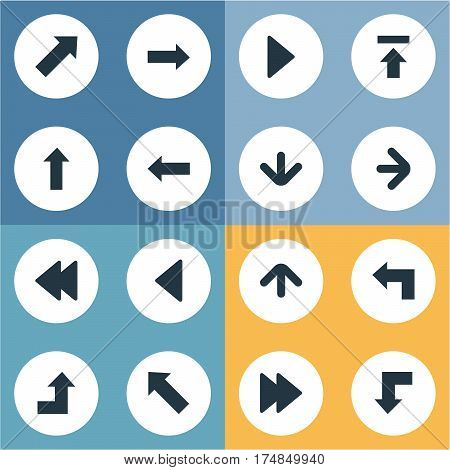 Vector Illustration Set Of Simple Pointer Icons. Elements Downwards Pointing, Transfer, Reduction And Other Synonyms Down, Direction And Upward.