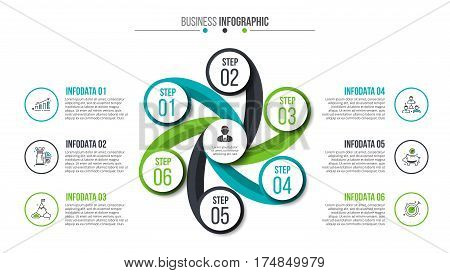 Business data visualization. Abstract flat elements of cycle diagram with 6 steps, options or processes. Vector business template for presentation. Creative concept for infographic. Process chart.