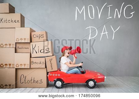 Child New Home Moving Day House Concept