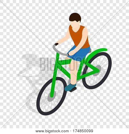 Cyclist riding a bike isometric icon 3d on a transparent background vector illustration