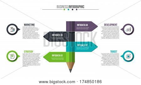 Abstract infographic pencil template. Can be used for education infographic, banner, diagram, step up options. Stroke icons.