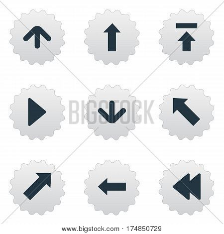 Vector Illustration Set Of Simple Cursor Icons. Elements Indicator, Left Direction, Pointer And Other Synonyms Rearward, Upload And Backward.