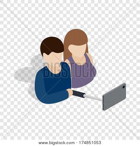 Young couple taking selfie photo together isometric icon 3d on a transparent background vector illustration