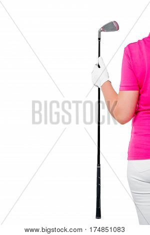 Gloved Hand Holding A Golf Club And The Space Left On A White Background