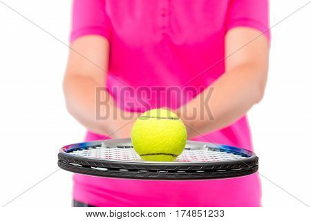 Ball In Focus Close-up Lying On The Racquet For Tennis