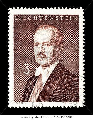 LIECHTENSTEIN - CIRCA 1960 : Cancelled postage stamp printed by Liechtenstein, that shows Franz Josef.