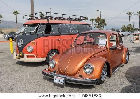 Vintage Volkswagen Bus And Beetle On Display