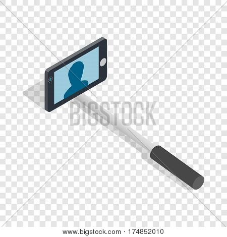 Selfie monopod stick isometric icon 3d on a transparent background vector illustration