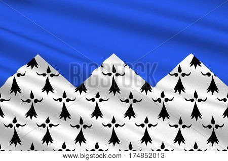 Flag of Cotes Armor formerly named Cotes-du-Nord is a department in the north of Brittany in northwestern France. 3D illustration