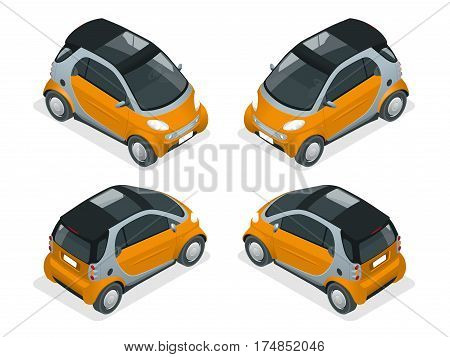 Isometric Hybrid Car. City car isolated on white background. Vector compact smart car. Vehicles isolated