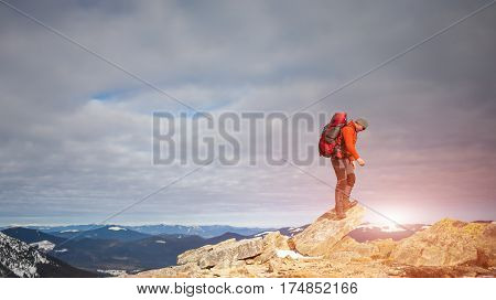 The Man Climbed To The Top Of The Mountain.