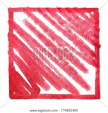 Red frame with zigzag strokes. Abstract background Space for your own text. Raster illustration