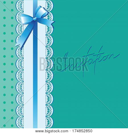 Lace and bow on a turquoise background. Vintage background with lace border and satin ribbon with a bow. Invitation card or template shower card baby. Vector Image.