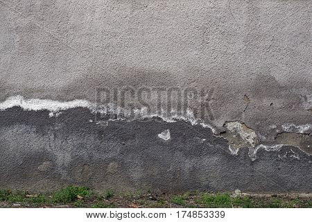 Grey Plaster, Grunge,rough, Hoarse Old Wall With Painted Part