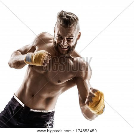 Boxer athlete work out left uppercut. Photo of muscular man on white background. Strength and motivation