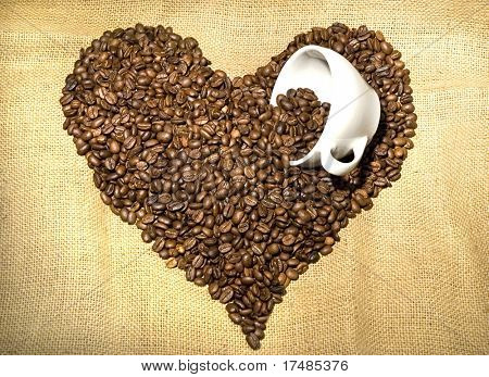 Heart shape of coffee beans