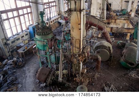 The abandoned chemical pharmacy vitamin plant with the remains of equipment