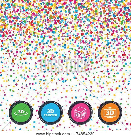 Web buttons on background of confetti. 3d technology icons. Printer, rotation arrow sign symbols. Print cube. Bright stylish design. Vector