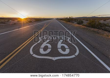 Sunset on Route 66 in the California Mojave Desert.